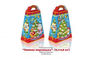 Продукция комбината Покровский - Новогодний баул «Зимняя пирамидка» с игрой (картон) — 0,7- 0,8 кг. Цена без НДС — 38 коп.