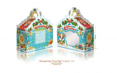 Продукция комбината Покровский - Новогодний баул «Домик Кузи» с окном (микрогофрокартон) 1,2 кг