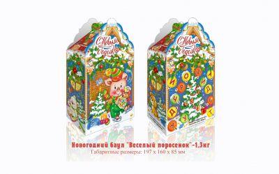 Продукция комбината Покровский - Новогодний баул «Весёлый поросёнок» (картон) — 1,3 кг