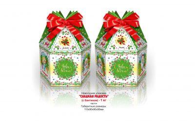 Продукция комбината Покровский - Новогодний баул «Сладкая радость» с бантиком (картон) — 1 кг. Есть символ года! Цена без НДС — 44 коп.