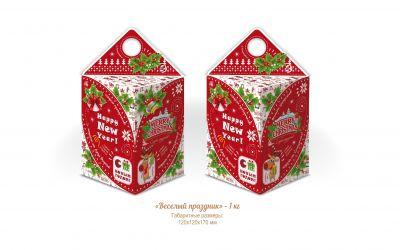 Продукция комбината Покровский - Новогодний баул (столбик) «Веселый праздник» (картон) — 1 кг