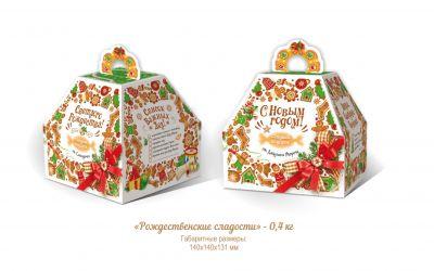 Продукция комбината Покровский - Новогодний баул «Рождественские сладости» (картон) — 0,4 кг