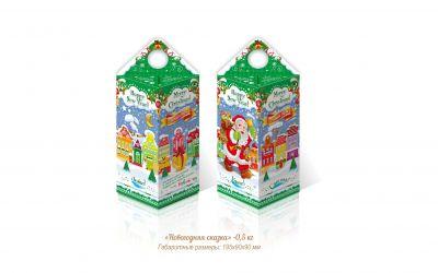 Продукция комбината Покровский - Новогодний баул (столбик) «Новогодняя сказка» (картон) — 0,5 кг