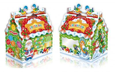 Продукция комбината Покровский - Новогодний баул «Домик с окном» 1,3 кг (микрогофрокартон)