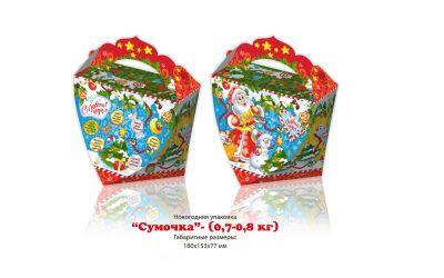 Продукция комбината Покровский - Новогодний баул «Сумочка» с загадками (картон) — 0,7- 0,8 кг. Цена без НДС — 38 коп.